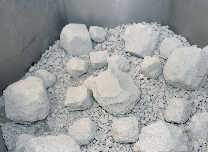 White rocks in a container